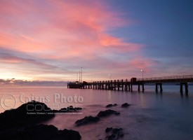 Image of Palm Cove jetty silhouetted at dawn, Cairns North Queensland, Australia
