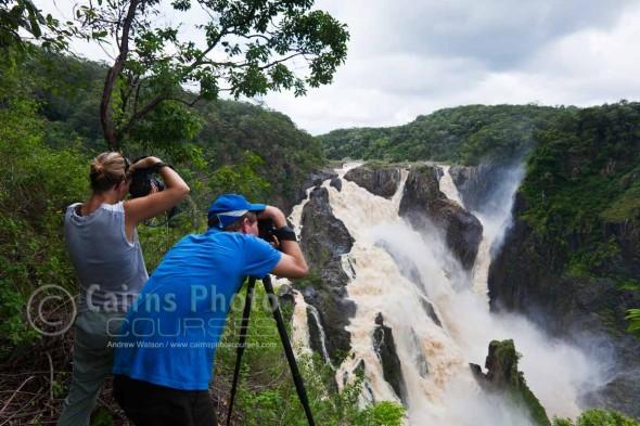 Image of photographers overlooking Barron Falls in wet season, Cairns, North Queensland, Australia