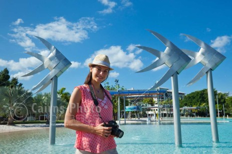 Image of photographer at Esplanade Lagoon, North Queensland, Australia