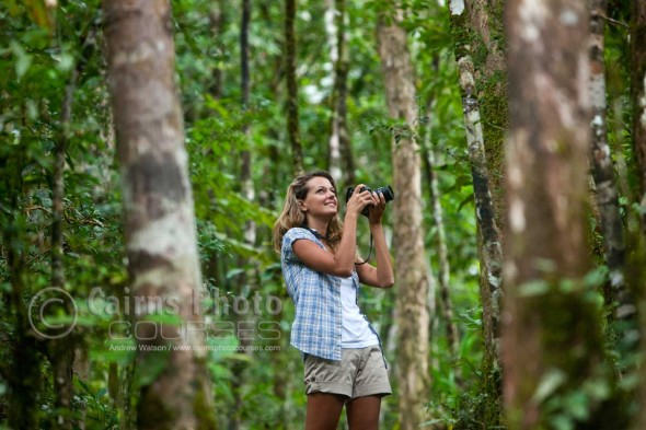 Image of photographer in rainforest at Mossman Gorge, North Queensland, Australia