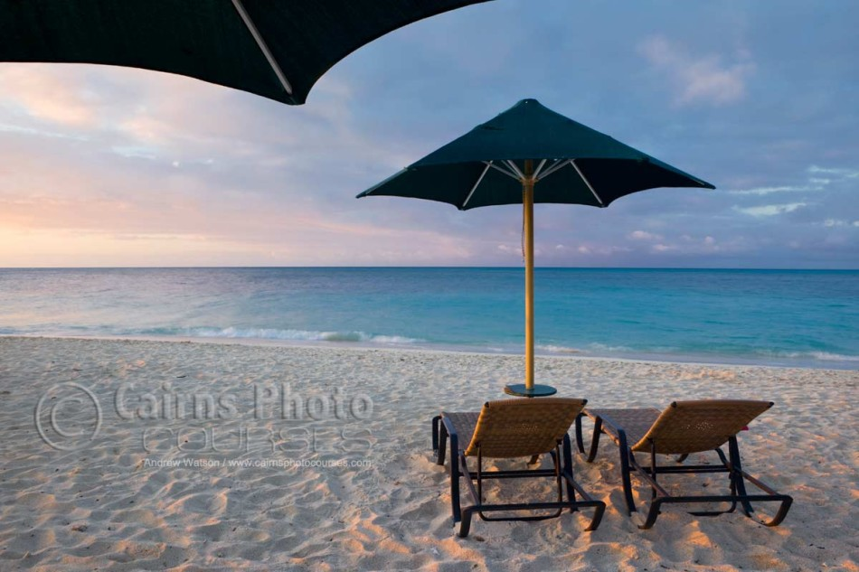 Image of sun lounges at sunset on Green Island, Great Barrier Reef, Cairns, North Queensland, Australia