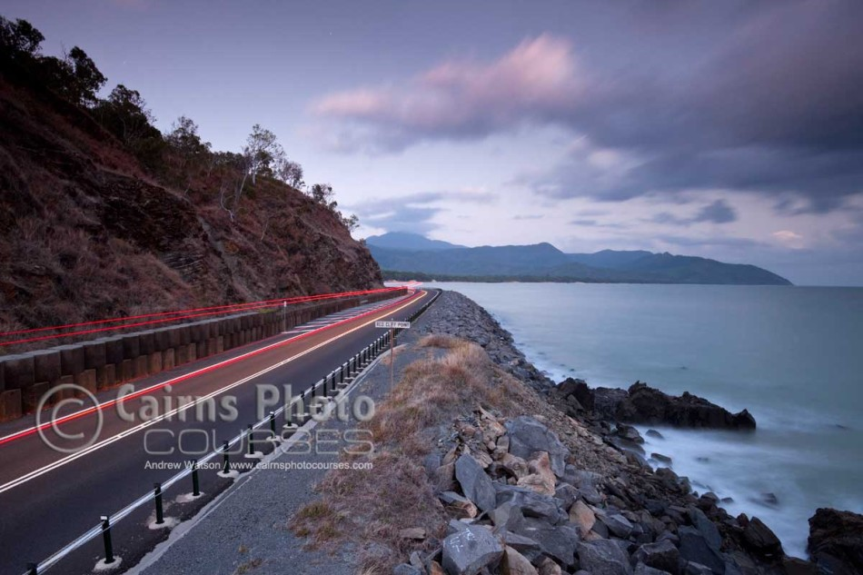 Image of light trails along Captain Cook Highway at Red Cliff Point, Port Douglas, North Queensland, Australia