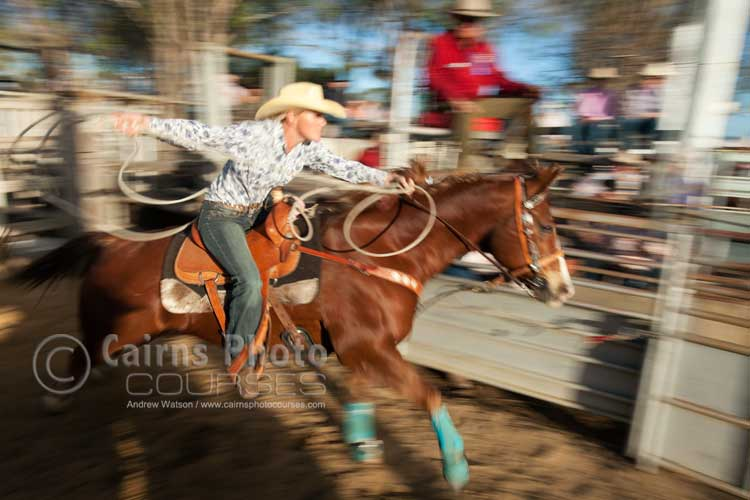 Panning shot of cowgirl in breakaway roping.  Canon 16-35mm lens @ 25mm, f8 @ 1/60 sec, ISO 100
