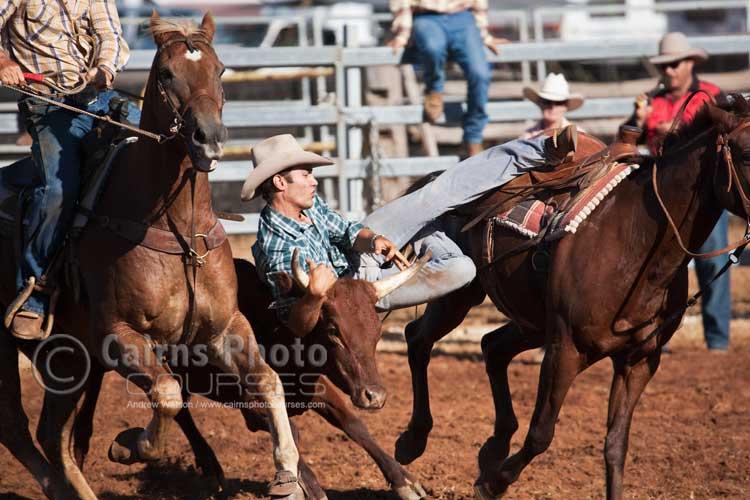 Steer wrestling.  Canon 100-400mm lens @ 350mm, f6.3 @ 1/1000 sec, ISO 400