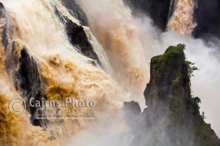 Barron Falls with high shutter speed to freeze action of water.  Canon 5D MkII, Tripod, 85mm, ISO 200, f5.6 @ 1/500 sec