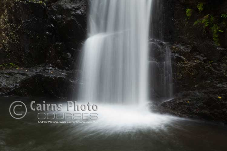 Tropical waterfall with slow shutter speed.  Canon 5D MkII, Tripod, 75mm, ISO 50, f16 @ 1.6 sec