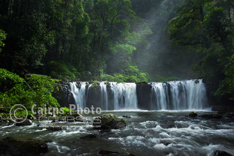 Getting low over the water to shoot Nandroya Falls.  Canon 5D MkII, Tripod, 26mm, ISO 100, f16 @ 1/10 sec